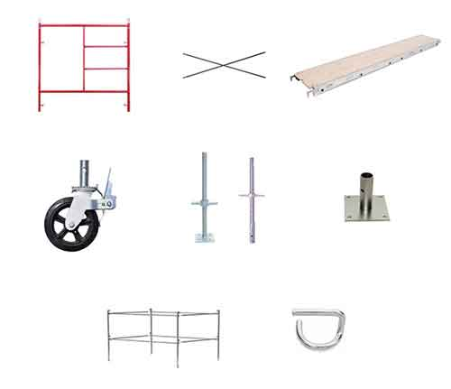 Scaffold Frames, Braces, Casters, Adjustable Legs, Platforms, and Guard Rails