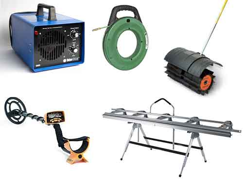 Ozone Machines, Fish Tape, Power Broom, Metal Detector, Aluminum Brake